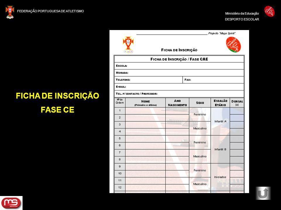 FEDERAÇÃO PORTUGUESA DE ATLETISMO Ministério da Educação DESPORTO ESCOLAR FICHA DE INSCRIÇÃO FASE CE
