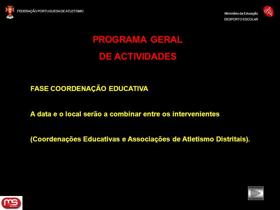 FEDERAÇÃO PORTUGUESA DE ATLETISMO Ministério da Educação DESPORTO ESCOLAR PROGRAMA GERAL DE ACTIVIDADES FASE COORDENAÇÃO EDUCATIVA A data e o local se