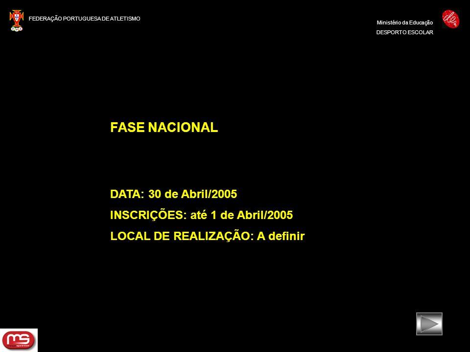 FEDERAÇÃO PORTUGUESA DE ATLETISMO Ministério da Educação DESPORTO ESCOLAR FASE NACIONAL DATA: 30 de Abril/2005 INSCRIÇÕES: até 1 de Abril/2005 LOCAL D
