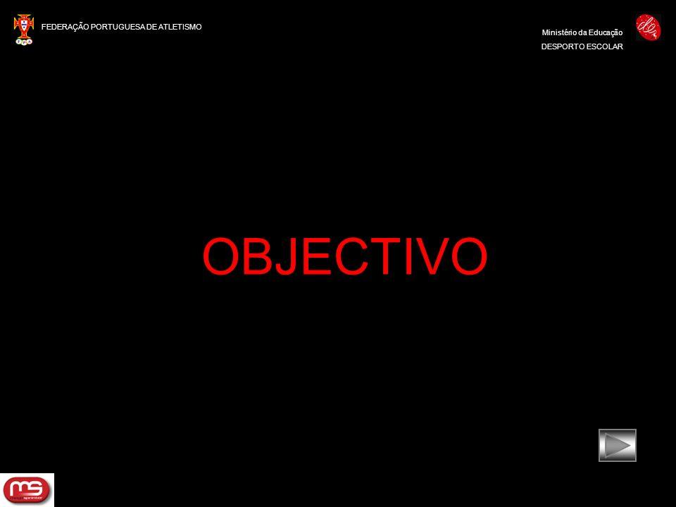 FEDERAÇÃO PORTUGUESA DE ATLETISMO Ministério da Educação DESPORTO ESCOLAR OBJECTIVO