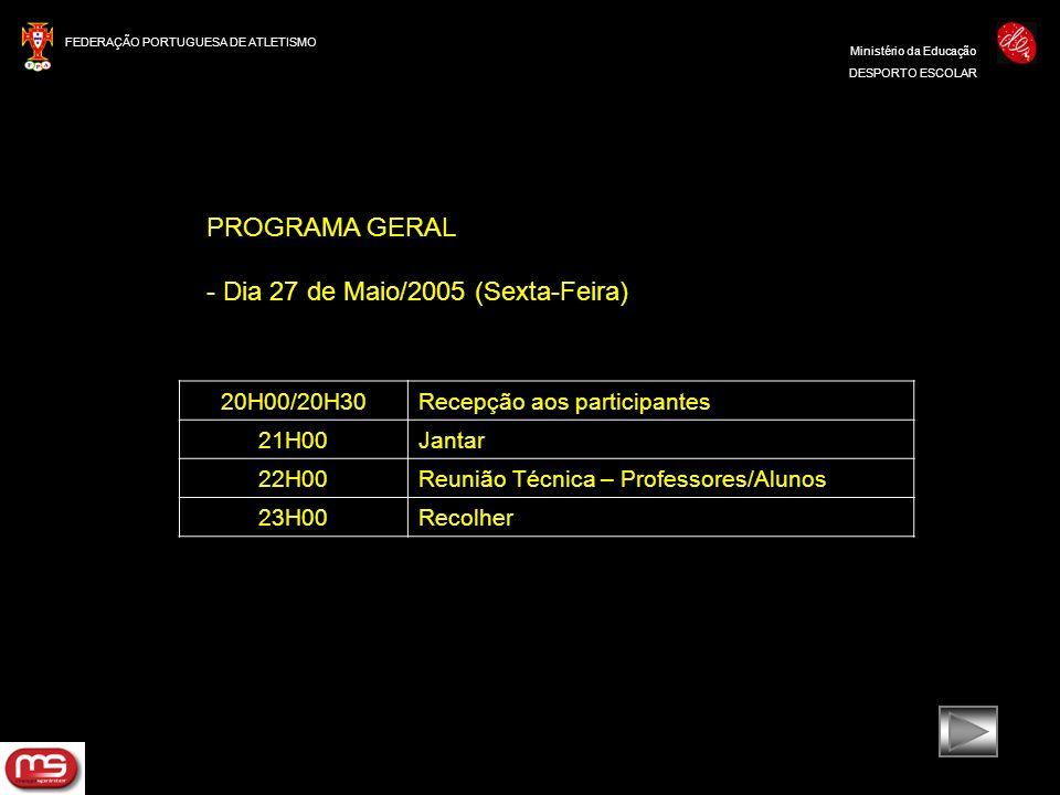 FEDERAÇÃO PORTUGUESA DE ATLETISMO Ministério da Educação DESPORTO ESCOLAR PROGRAMA GERAL - Dia 27 de Maio/2005 (Sexta-Feira) 20H00/20H30Recepção aos p