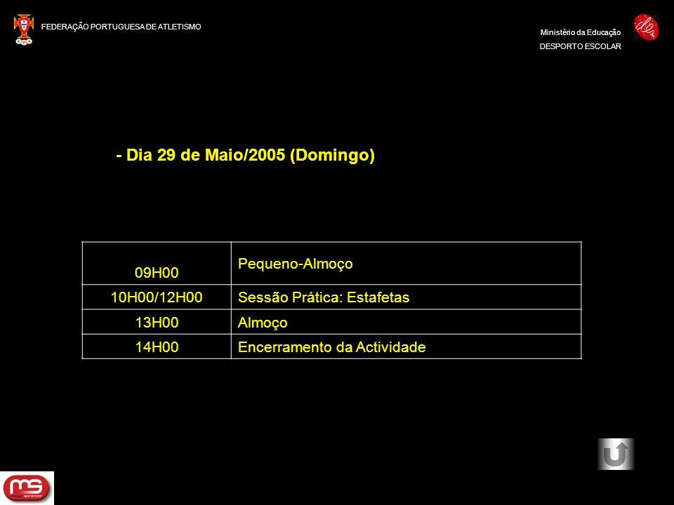 FEDERAÇÃO PORTUGUESA DE ATLETISMO Ministério da Educação DESPORTO ESCOLAR - Dia 29 de Maio/2005 (Domingo) 09H00 Pequeno-Almoço 10H00/12H00Sessão Práti