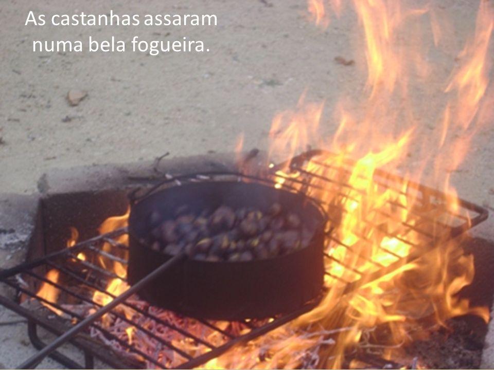 As castanhas assaram numa bela fogueira.