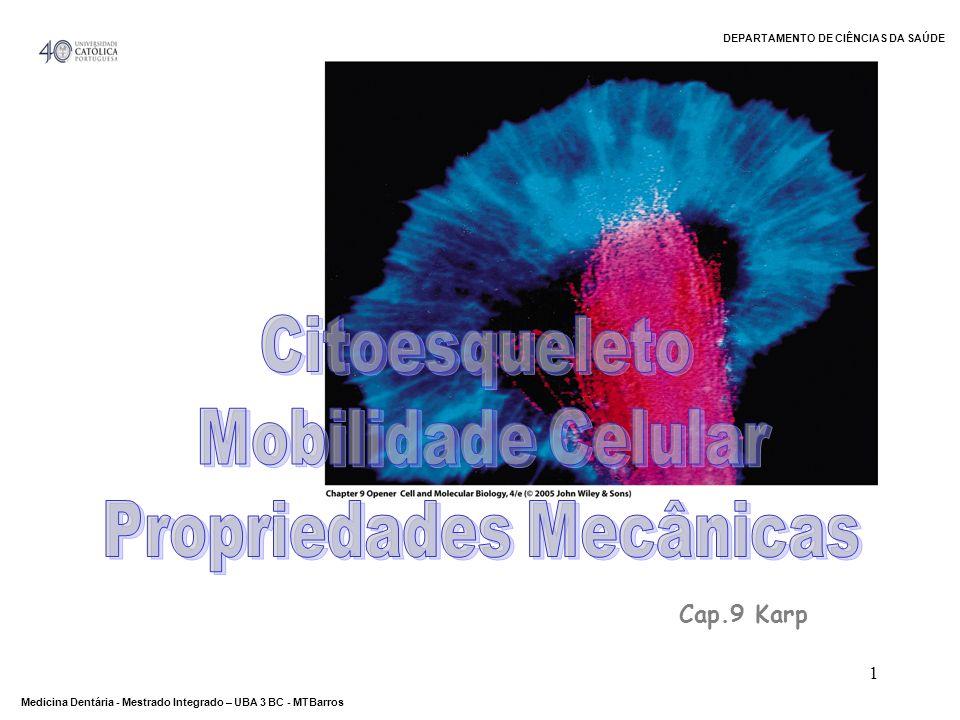 DEPARTAMENTO DE CIÊNCIAS DA SAÚDE Medicina Dentária - Mestrado Integrado – UBA 3 BC - MTBarros 2 Citoesqueleto e movimentação celular Filamentos intermédios Microfilamentos Polimerização e despolimerização dos microfilamentos Proteínas motoras: miosina.