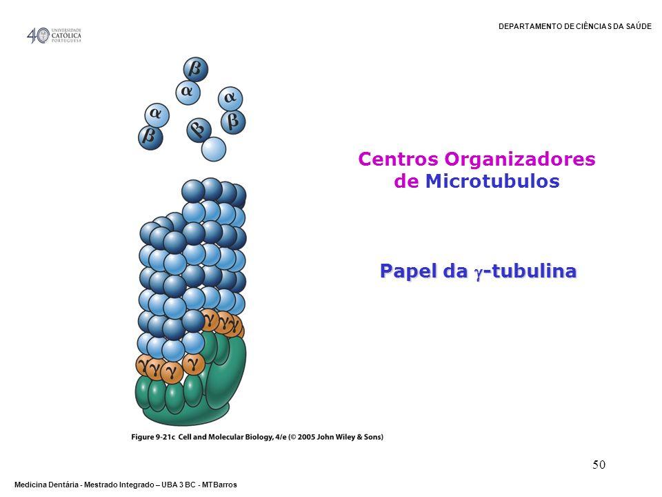 DEPARTAMENTO DE CIÊNCIAS DA SAÚDE Medicina Dentária - Mestrado Integrado – UBA 3 BC - MTBarros 50 Papel da -tubulina Centros Organizadores de Microtub