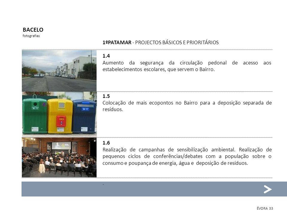 BACELO fotografias 1ºPATAMAR - PROJECTOS BÁSICOS E PRIORITÁRIOS 1.4 Aumento da segurança da circulação pedonal de acesso aos estabelecimentos escolare