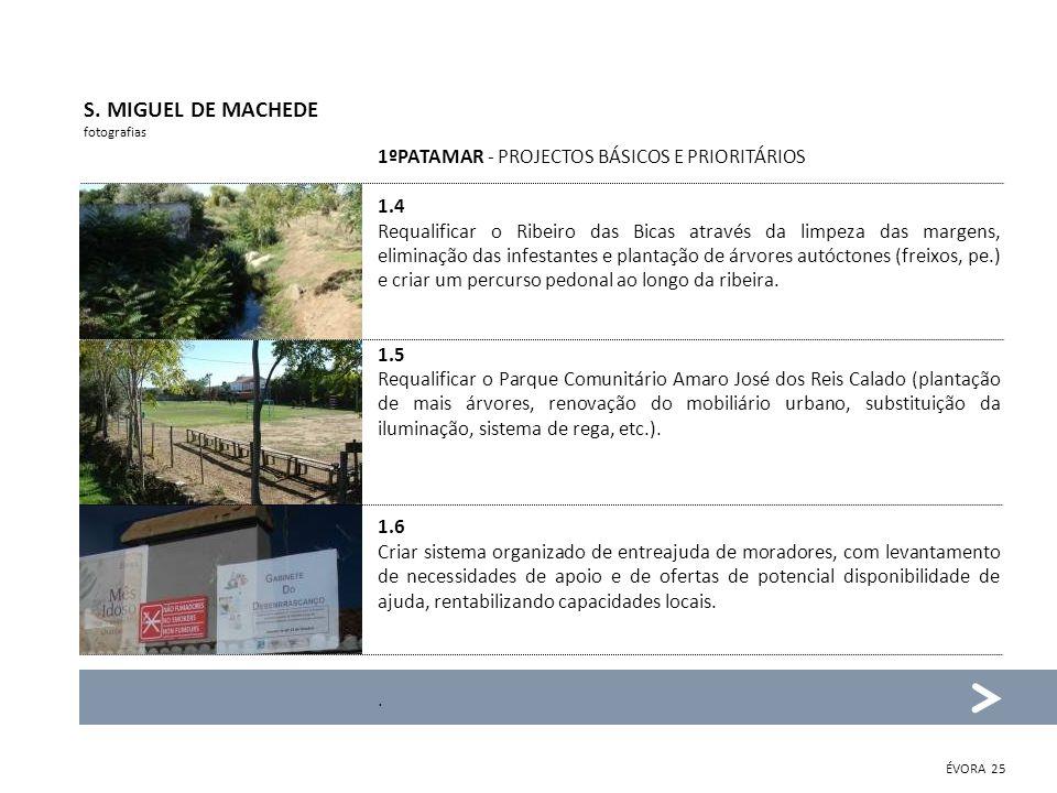 S. MIGUEL DE MACHEDE fotografias 1ºPATAMAR - PROJECTOS BÁSICOS E PRIORITÁRIOS 1.4 Requalificar o Ribeiro das Bicas através da limpeza das margens, eli