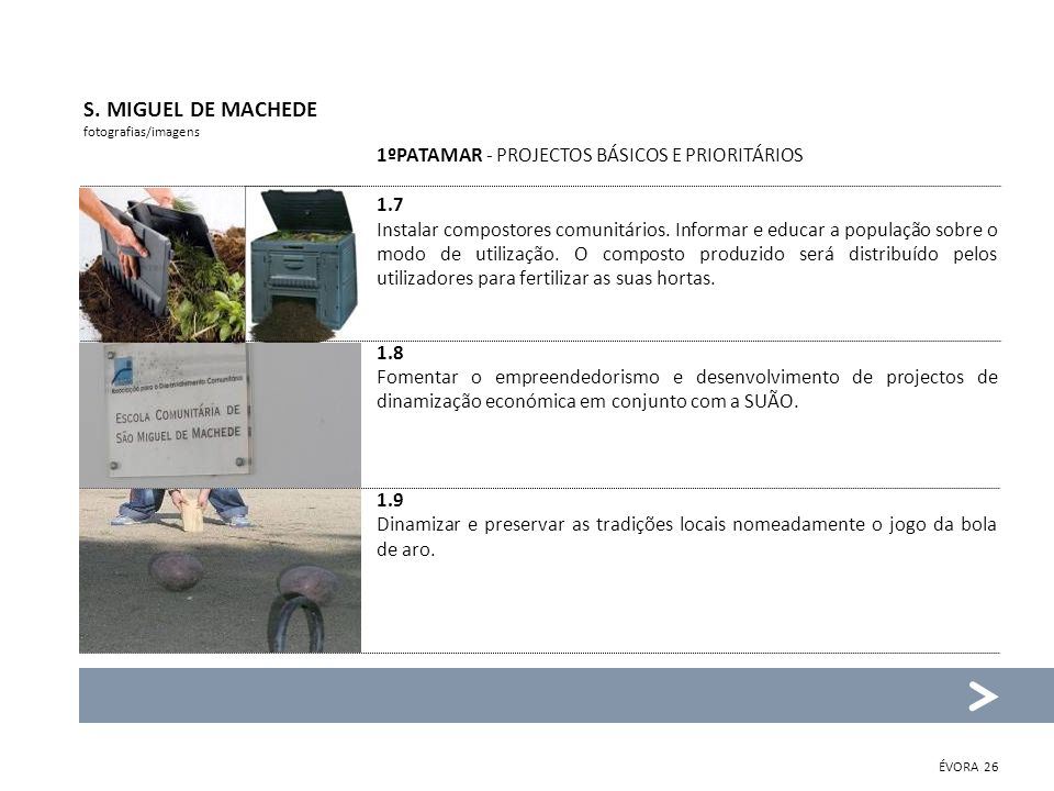 S. MIGUEL DE MACHEDE fotografias/imagens 1ºPATAMAR - PROJECTOS BÁSICOS E PRIORITÁRIOS 1.7 Instalar compostores comunitários. Informar e educar a popul