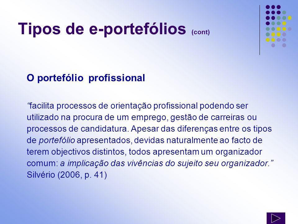 Tipos de e-portefólios (cont) O portefólio profissional facilita processos de orientação profissional podendo ser utilizado na procura de um emprego,