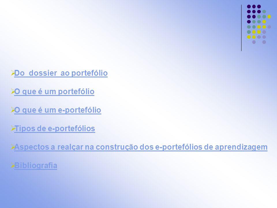 Do dossier ao portefólio (Silvério, 2006,17, adaptado de Bernardes e Miranda, 2003) DossierPortefólio Trabalhos não documentam o percurso do aluno.