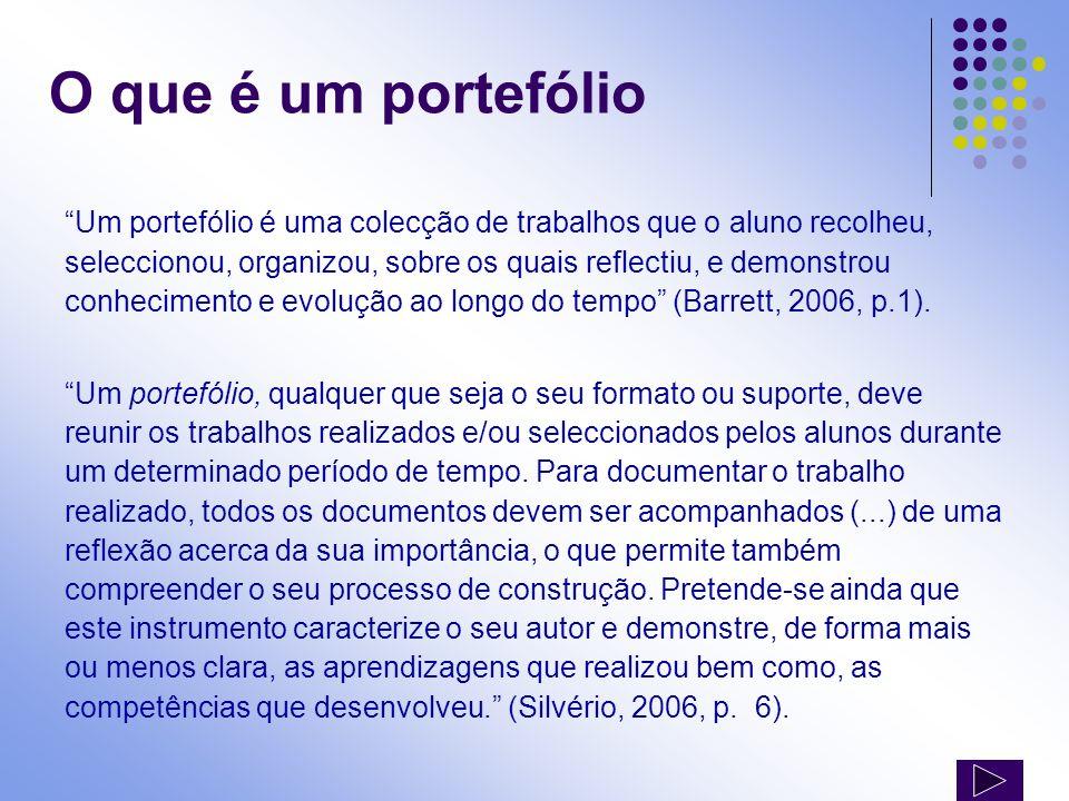 O que é um portefólio (cont) O portefólio é um laboratório onde os estudantes constroem significados a partir da experiência acumulada (…) Um portefólio conta uma história.