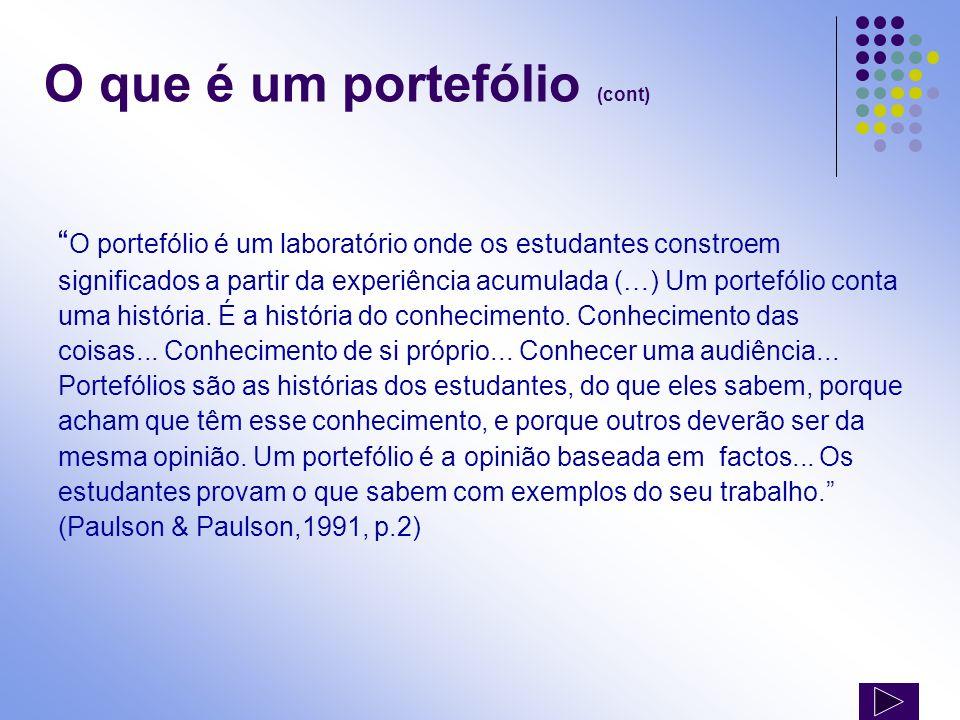 O que é um portefólio (cont) O portefólio é um laboratório onde os estudantes constroem significados a partir da experiência acumulada (…) Um portefól