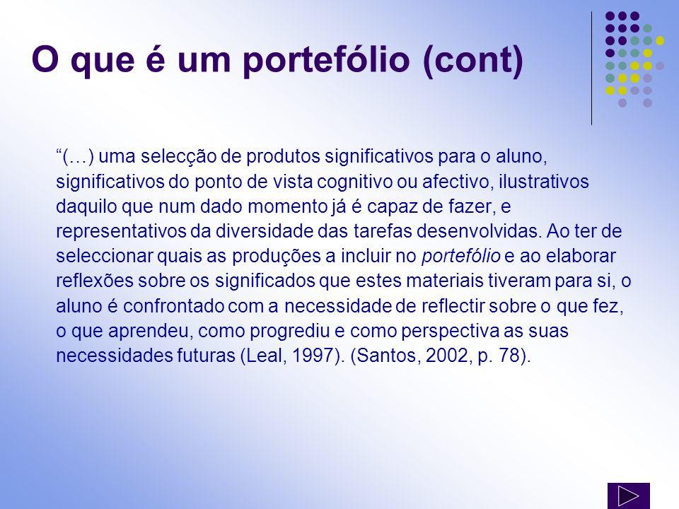 (…) uma selecção de produtos significativos para o aluno, significativos do ponto de vista cognitivo ou afectivo, ilustrativos daquilo que num dado mo