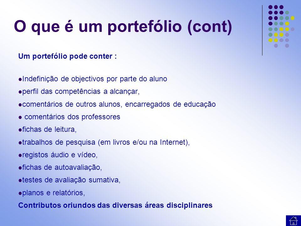 Um portefólio pode conter : Indefinição de objectivos por parte do aluno perfil das competências a alcançar, comentários de outros alunos, encarregado