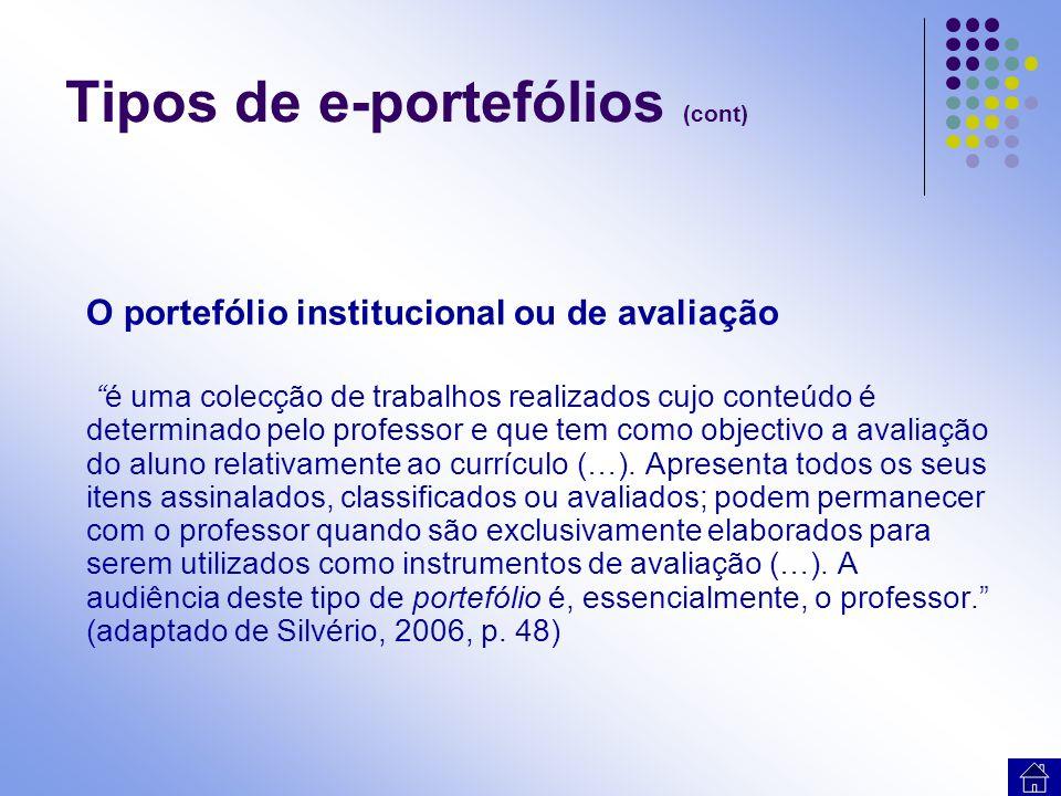 Tipos de e-portefólios (cont) O portefólio profissional facilita processos de orientação profissional podendo ser utilizado na procura de um emprego, gestão de carreiras ou processos de candidatura.