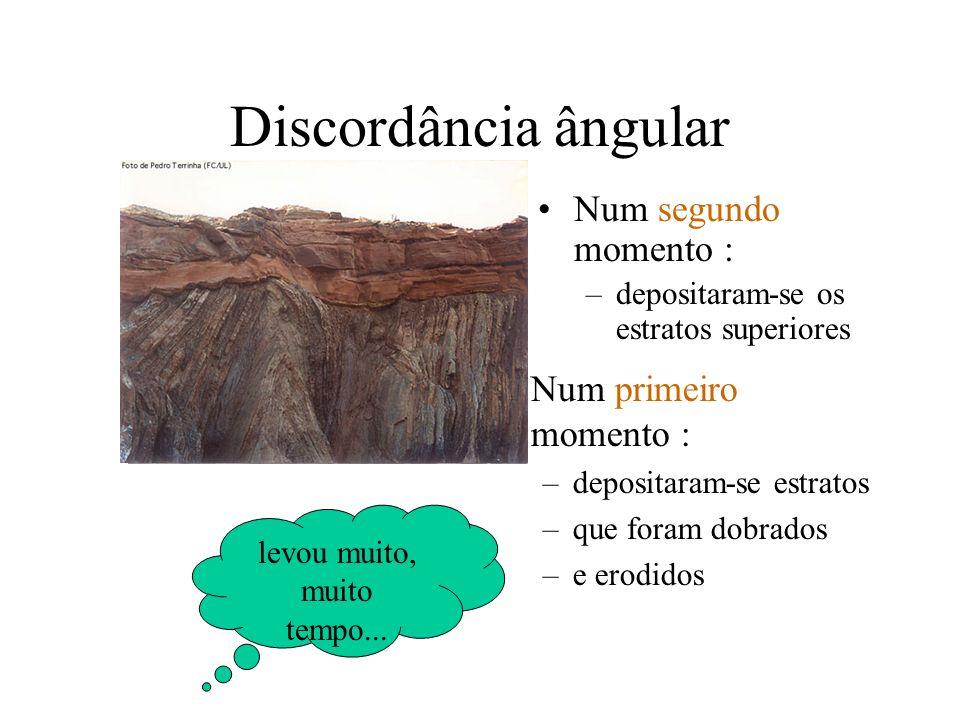 Discordância ângular Num primeiro momento : –depositaram-se estratos –que foram dobrados –e erodidos Num segundo momento : –depositaram-se os estratos