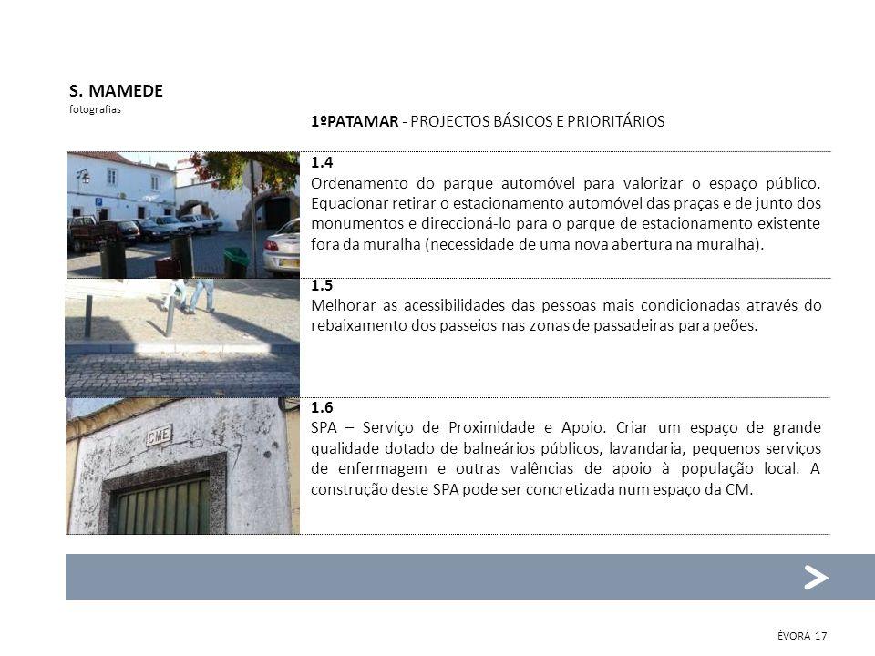1ºPATAMAR - PROJECTOS BÁSICOS E PRIORITÁRIOS 1.4 Ordenamento do parque automóvel para valorizar o espaço público.