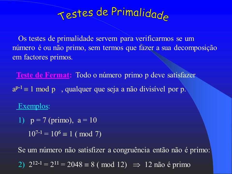 Conjectura de Goldbach: Qualquer número natural par n 6 pode ser escrito como soma de dois números ímpares. Conjectura dos primos gémeos: Existe uma i