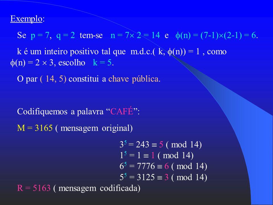 Fórmula de Descodificação: R j M (mod n) Expoente de Descodificação : j (n) kj 1 (mod (n)) O receptor (conhecedor de p e q) determina o d etermina M Z