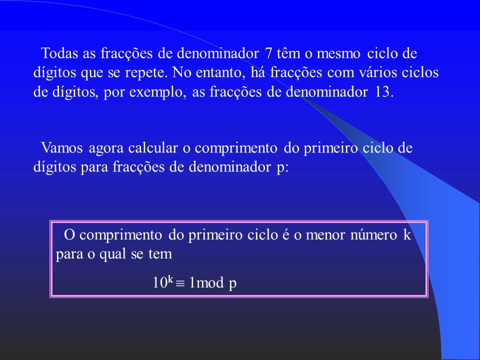 = 0,142857 142857... = 0,285714 285714... = 0,428571 428571... 4/7 5 6/7 7 1/7 1 3/7 4 2/7 2 5/78 As fracções podem ter dízimas finitas ou dizimas inf