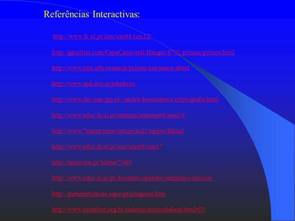 Referências Biblográficas: John Conway, Richard Guy, O Livro dos Números Natália Bebiano da Providência, Matemática ou Mesas, Cadeiras e Canecas de Ce