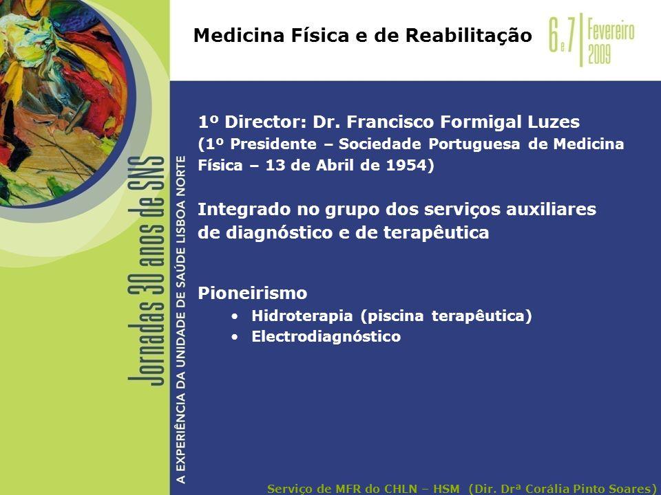 1º Director: Dr. Francisco Formigal Luzes (1º Presidente – Sociedade Portuguesa de Medicina Física – 13 de Abril de 1954) Integrado no grupo dos servi