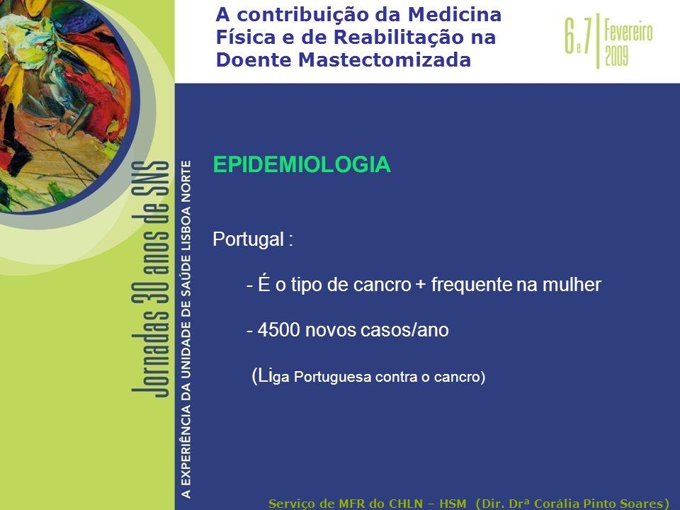 A contribuição da Medicina Física e de Reabilitação na Doente Mastectomizada EPIDEMIOLOGIA Portugal : - É o tipo de cancro + frequente na mulher - 450