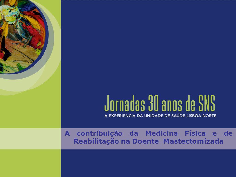 A contribuição da Medicina Física e de Reabilitação na Doente Mastectomizada Melhoria funcional da doente Melhoria da qualidade de vida Dar mais anos à vida, mais vida aos anos… Serviço de MFR do CHLN – HSM (Dir.