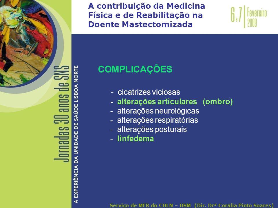 A contribuição da Medicina Física e de Reabilitação na Doente Mastectomizada COMPLICAÇÕES - cicatrizes viciosas - alterações articulares (ombro) - alt