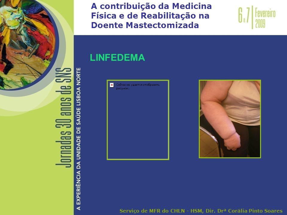 A contribuição da Medicina Física e de Reabilitação na Doente Mastectomizada LINFEDEMA Serviço de MFR do CHLN - HSM, Dir. Drª Corália Pinto Soares