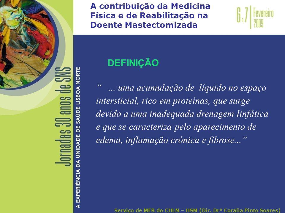 A contribuição da Medicina Física e de Reabilitação na Doente Mastectomizada... uma acumulação de líquido no espaço intersticial, rico em proteínas, q