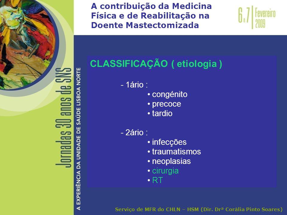 A contribuição da Medicina Física e de Reabilitação na Doente Mastectomizada CLASSIFICAÇÃO ( etiologia ) - 1ário : congénito precoce tardio - 2ário :