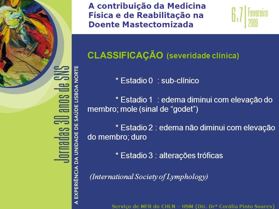 A contribuição da Medicina Física e de Reabilitação na Doente Mastectomizada CLASSIFICAÇÃO (severidade clínica) * Estadio 0 : sub-clínico * Estadio 1