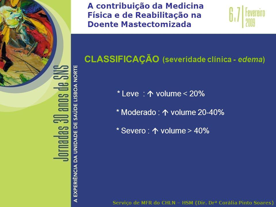 A contribuição da Medicina Física e de Reabilitação na Doente Mastectomizada CLASSIFICAÇÃO (severidade clínica - edema) * Leve : volume < 20% * Modera