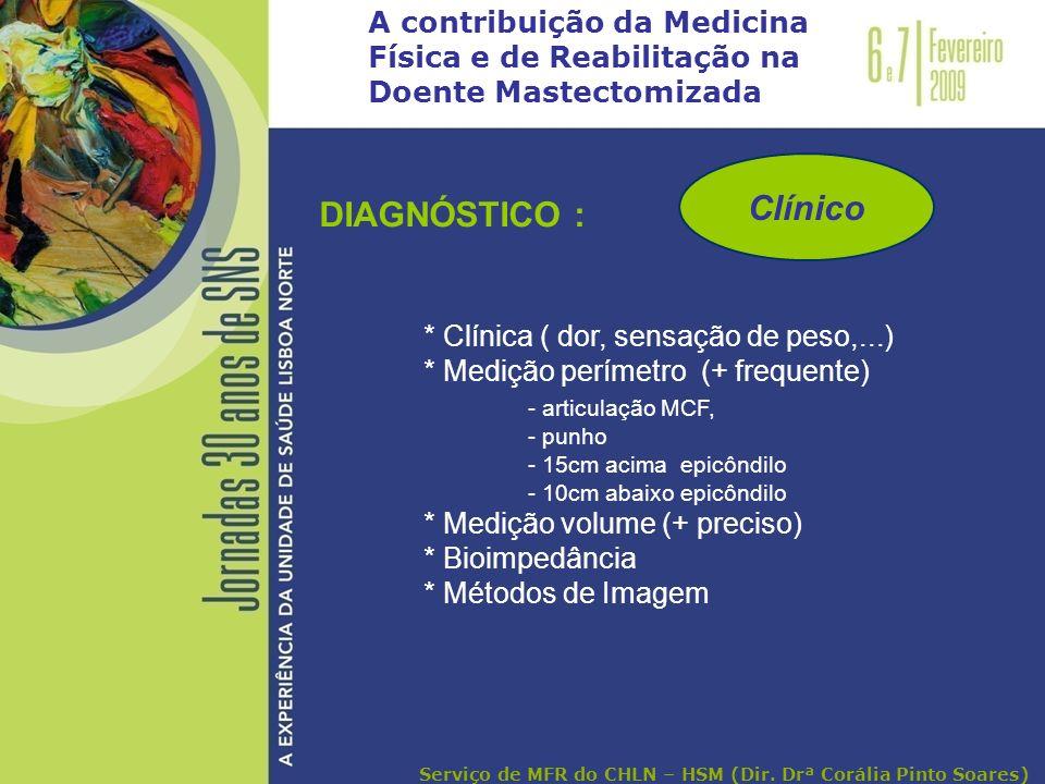 A contribuição da Medicina Física e de Reabilitação na Doente Mastectomizada DIAGNÓSTICO : * Clínica ( dor, sensação de peso,...) * Medição perímetro