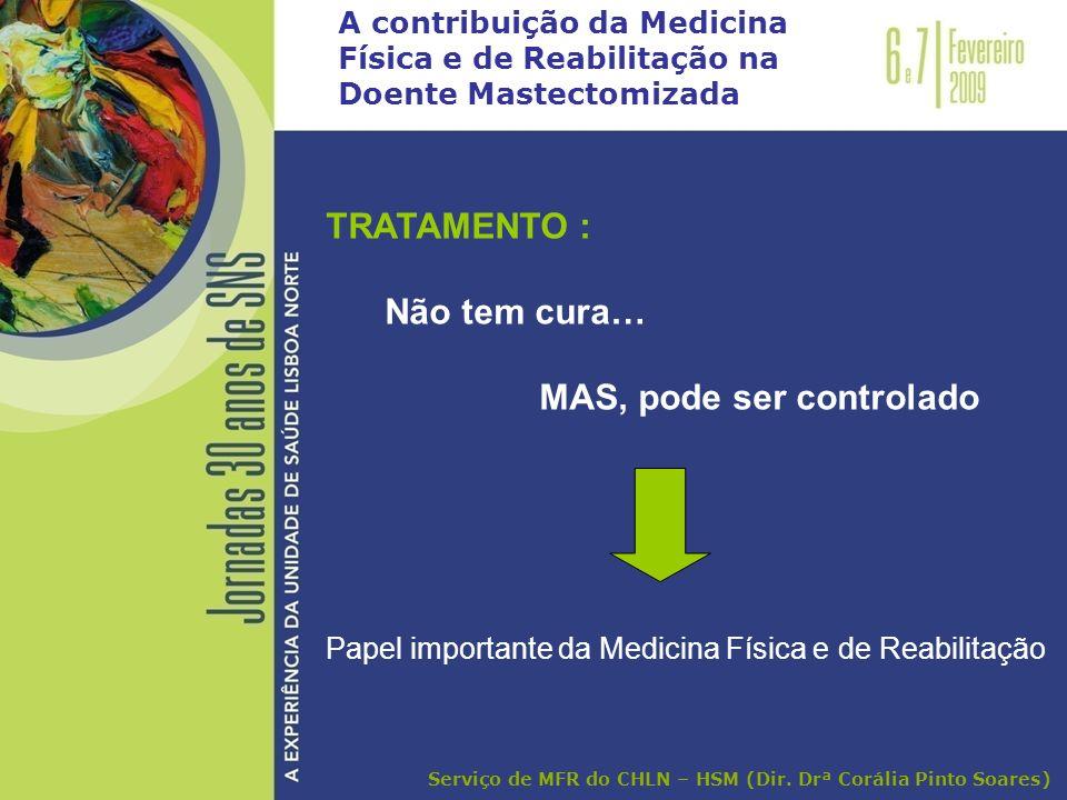A contribuição da Medicina Física e de Reabilitação na Doente Mastectomizada TRATAMENTO : Não tem cura… MAS, pode ser controlado Papel importante da M