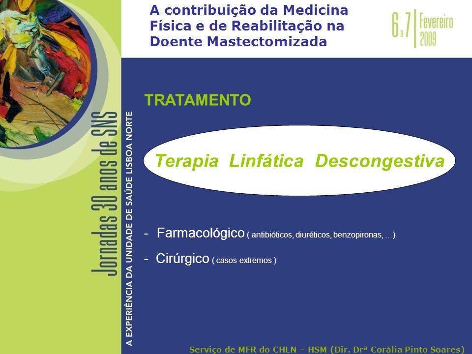 A contribuição da Medicina Física e de Reabilitação na Doente Mastectomizada TRATAMENTO - Farmacológico ( antibióticos, diuréticos, benzopironas, …) -
