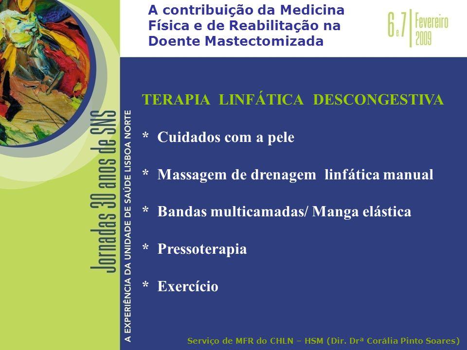 A contribuição da Medicina Física e de Reabilitação na Doente Mastectomizada TERAPIA LINFÁTICA DESCONGESTIVA * Cuidados com a pele * Massagem de drena