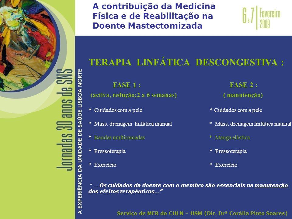 TERAPIA LINFÁTICA DESCONGESTIVA : FASE 1 : FASE 2 : (activa, redução;2 a 6 semanas) ( manutenção) * Cuidados com a pele * Mass. drenagem linfática man