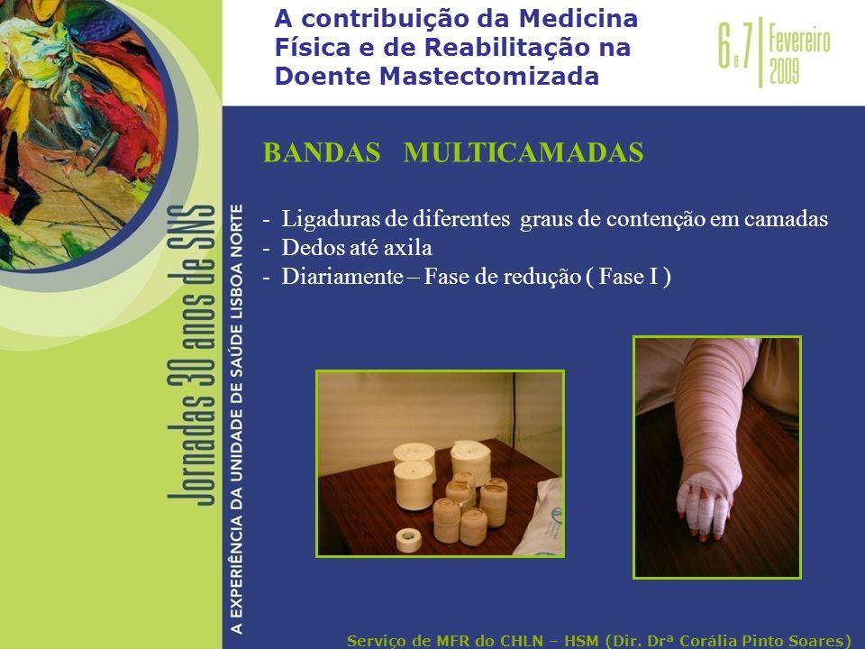 A contribuição da Medicina Física e de Reabilitação na Doente Mastectomizada BANDAS MULTICAMADAS - Ligaduras de diferentes graus de contenção em camad