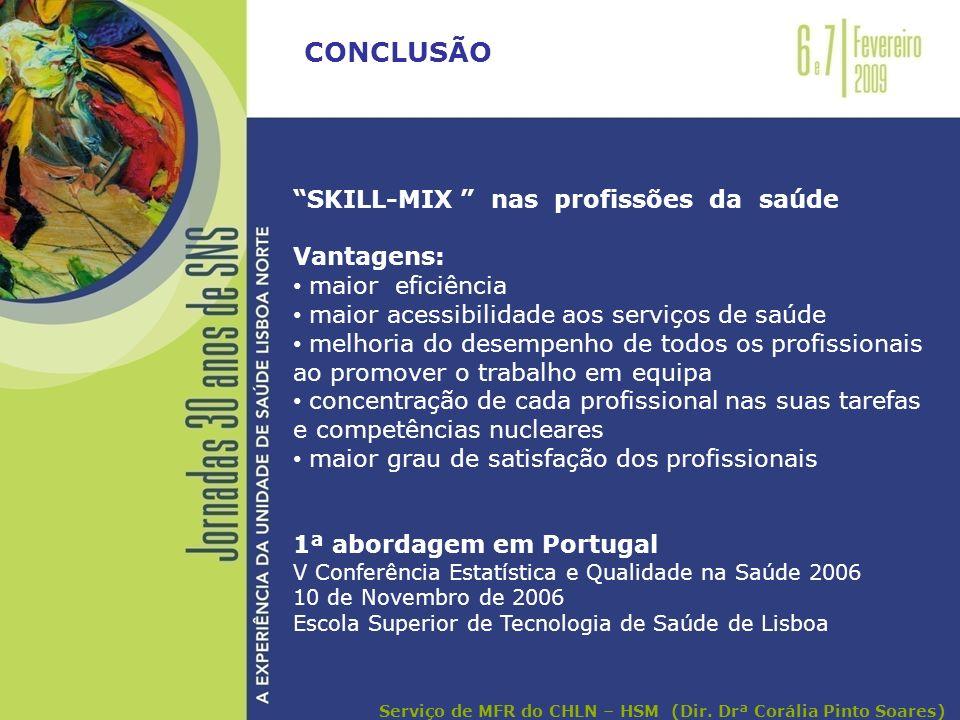 CONCLUSÃO SKILL-MIX nas profissões da saúde Vantagens: maior eficiência maior acessibilidade aos serviços de saúde melhoria do desempenho de todos os