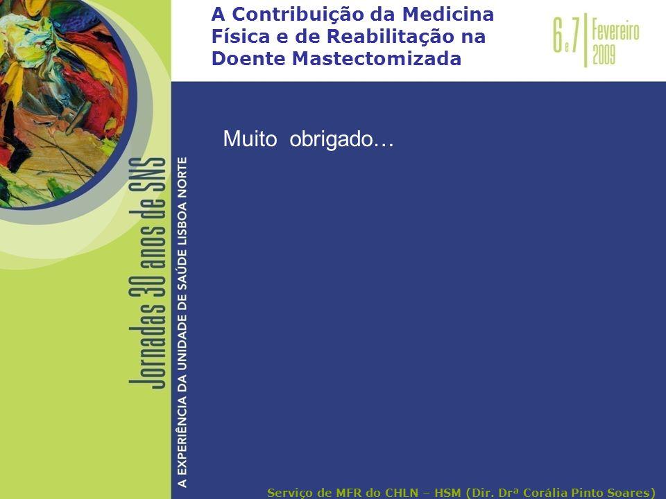 A Contribuição da Medicina Física e de Reabilitação na Doente Mastectomizada Muito obrigado… Serviço de MFR do CHLN – HSM (Dir. Drª Corália Pinto Soar