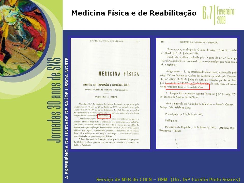 Medicina Física e de Reabilitação Serviço de MFR do CHLN – HSM (Dir. Drª Corália Pinto Soares)