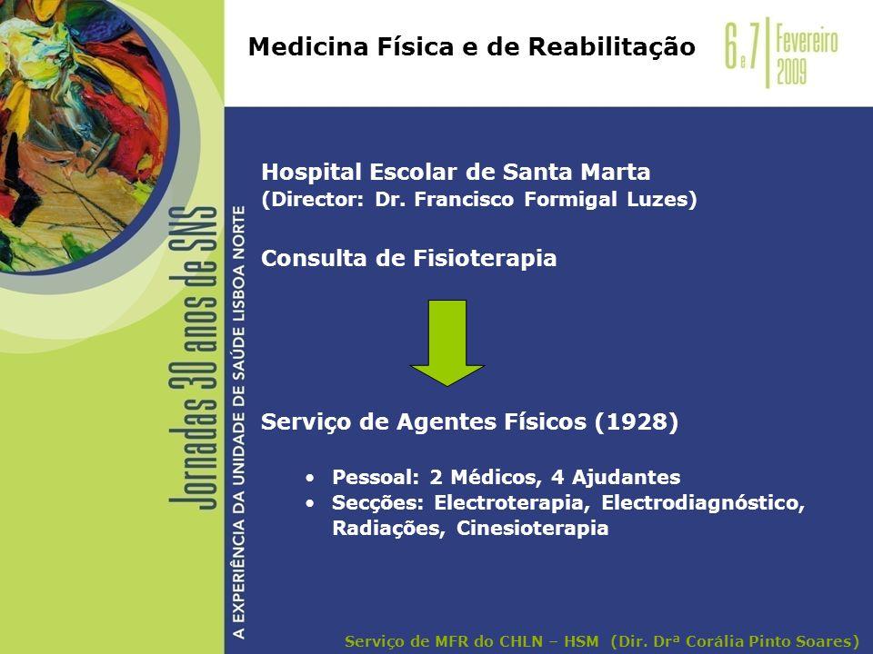 Hospital Escolar de Santa Marta (Director: Dr. Francisco Formigal Luzes) Consulta de Fisioterapia Serviço de Agentes Físicos (1928) Pessoal: 2 Médicos