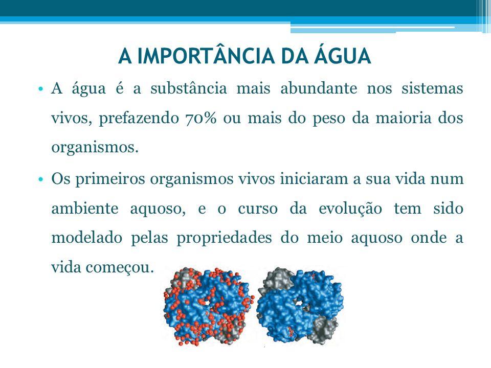 A IMPORTÂNCIA DA ÁGUA A água é a substância mais abundante nos sistemas vivos, prefazendo 70% ou mais do peso da maioria dos organismos. Os primeiros