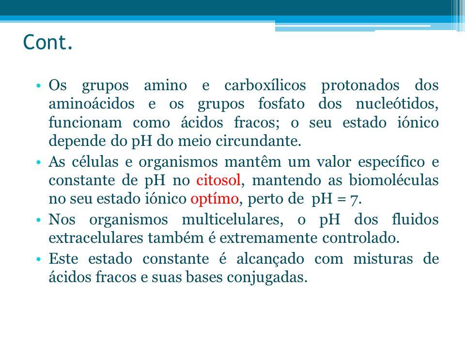 Cont. Os grupos amino e carboxílicos protonados dos aminoácidos e os grupos fosfato dos nucleótidos, funcionam como ácidos fracos; o seu estado iónico