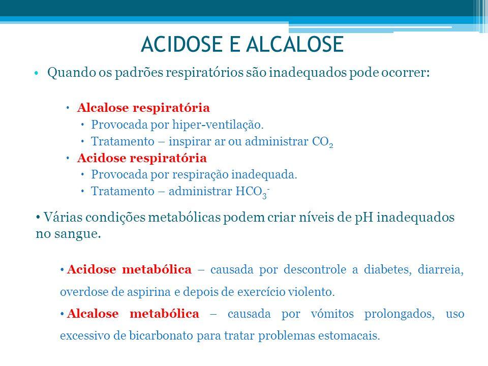 ACIDOSE E ALCALOSE Quando os padrões respiratórios são inadequados pode ocorrer: Alcalose respiratória Provocada por hiper-ventilação. Tratamento – in