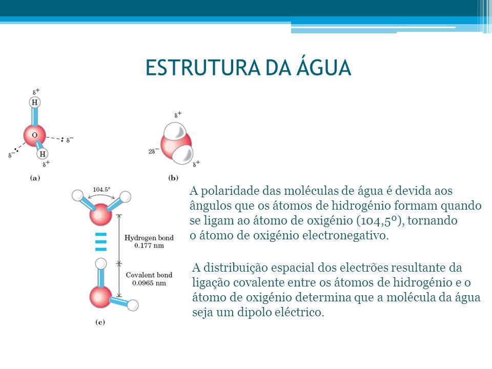 ESTRUTURA DA ÁGUA A polaridade das moléculas de água é devida aos ângulos que os átomos de hidrogénio formam quando se ligam ao átomo de oxigénio (104