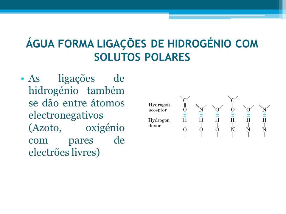 ÁGUA FORMA LIGAÇÕES DE HIDROGÉNIO COM SOLUTOS POLARES As ligações de hidrogénio também se dão entre átomos electronegativos (Azoto, oxigénio com pares