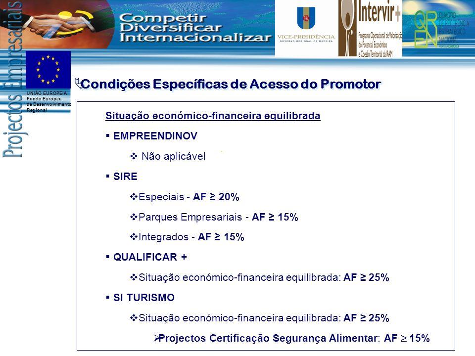 UNIÃO EUROPEIA Fundo Europeu de Desenvolvimento Regional Situação económico-financeira equilibrada EMPREENDINOV Não aplicável SIRE Especiais - AF 20% Parques Empresariais - AF 15% Integrados - AF 15% QUALIFICAR + Situação económico-financeira equilibrada: AF 25% SI TURISMO Situação económico-financeira equilibrada: AF 25% Projectos Certificação Segurança Alimentar: AF 15% Condições Específicas de Acesso do Promotor
